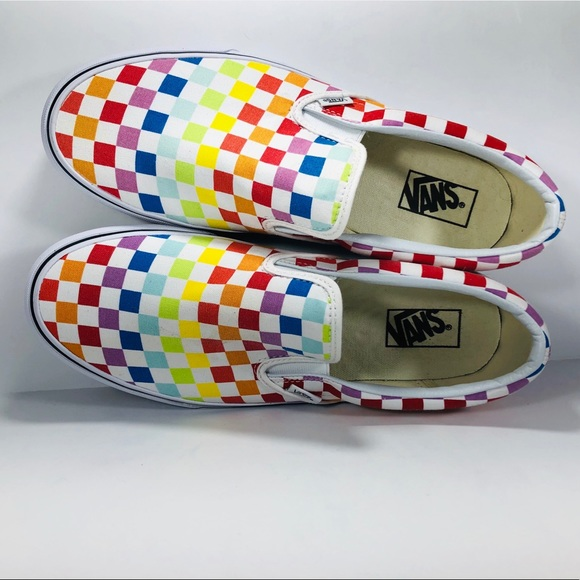 b0a1c9bbb4c8d8 Vans Classic Slip On Rainbow Checkerboard Sneakers